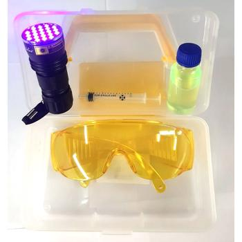 Ультрафиолетовый фонарь + защитные очки + дымовая жидкость УФ 30 мл (набор)